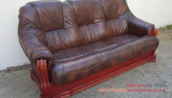 Трехместный раскладной кожаный диван