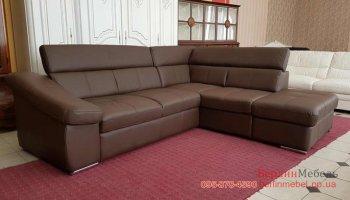 Кожаный угловой диван с пуфом